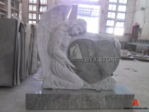 Seawave Green Granite Monument with Angel Carved Headstone pictures & photos