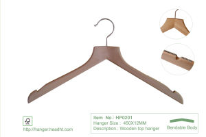 Hh Brand High Quality White Clothes Top Hanger for Coat Suit with Brass Hook pictures & photos