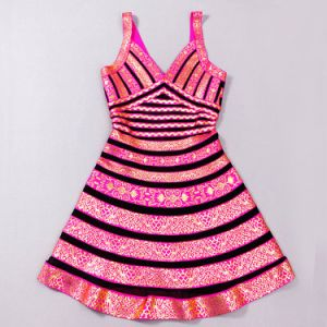 Gold Foil A-Line Young Girl Party Dress pictures & photos