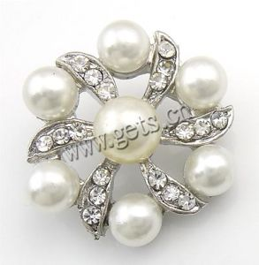 Zinc Alloy Shank Button, Rhinestone Flower Button (110518164309)