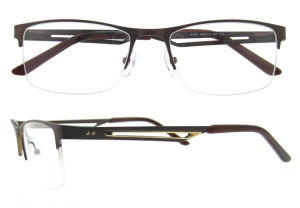 China Unisex Half Frame Optical Eyeglasses Frame with Hole Temple pictures & photos