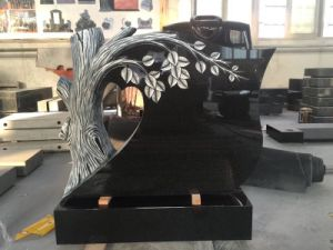 Black Granite Tree Carving Memorials Headstone From Haobo pictures & photos