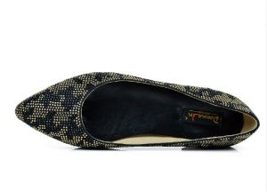 Lady Fashion Crystal Leopard Print Suede Leather Flat Women Shoes pictures & photos