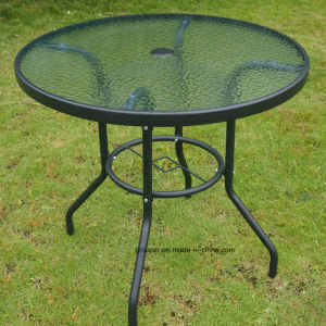 Garden Furniture Tempered Glass Table with Hole in The Middle of The Tabletop pictures & photos