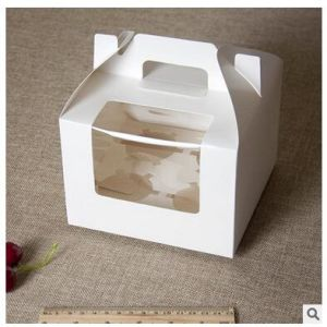 Custom Artpaper Handle Cake Box with PVC Window pictures & photos