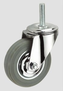 4inch Gray Rubber Thread Industrial Caster Without Brake