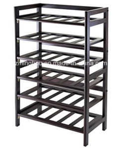 6 Tier 30 Bottle Wooden Wine Shelving for Home Storage pictures & photos