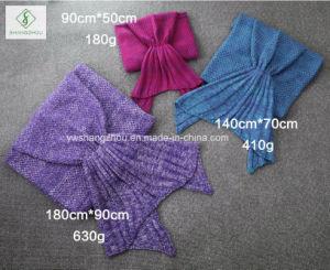 140cm*70cm Crochet Mermaid Tail Blanket Soft Sleeping Bag Knitted Blanket pictures & photos
