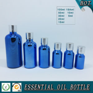 Blue Electroplating Glass Essential Oil Bottle with Screw Silver Aluminum Cap pictures & photos