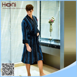 Wholesale Warm Dark Blue Men Stripe Bathrobe pictures & photos