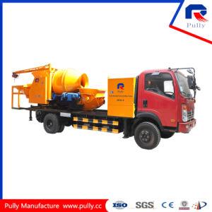 Pully Manufacture Hot Sale Mobile Concrete Batching Plant Truck Mounted Drum Mixer Concrete Pump with Batcher (JBC40-P) pictures & photos