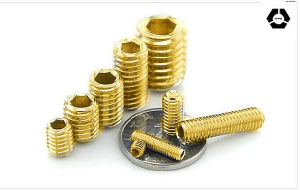 DIN916 Hexagon Socket Set Screws with Yellow Zinc pictures & photos