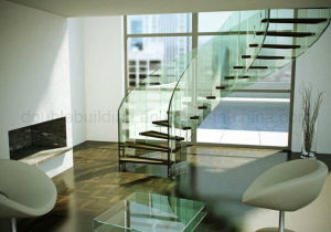 Modern Curved Glass Staircases/Helical Staircase Design/Curved Glass Railing pictures & photos