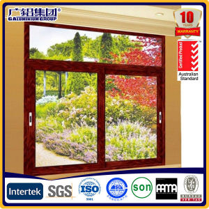 Waterproof Household Double Glass Sliding Window with Yellow Aluminum Frame pictures & photos