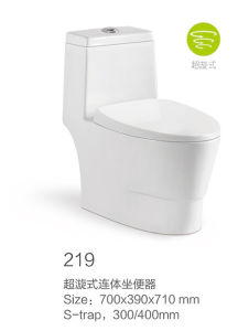 219 White Siphonic One-Piece Toilet New Model pictures & photos