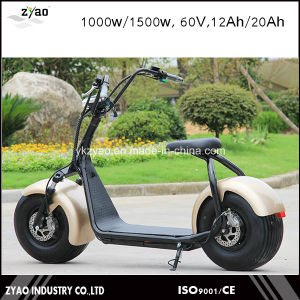 2000W 60V 20ah City Coco Electric Motorcycle with Big Wheel LED Light pictures & photos