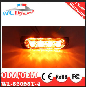 Amber White Super Thin 4 LED Strobe Safety Warning Flasher Light pictures & photos