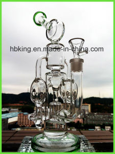 Hitman Cyclone Intricate Double Recycler Helix Perc Glass Smoking Water Pipe pictures & photos