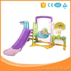 Indoor Toy Multifunction Playground Six in One Long Slide, Swing, Basketball Stand for Kid D Series pictures & photos