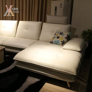 Movable Back Leather Sofa with Stainless Steel Leg (1637A) pictures & photos
