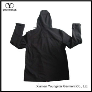 Ys-1065 Black Polar Fleece Waterproof Breathable Mens Softshell Jacket with Hood pictures & photos