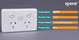 SAA Certificate As316 Australia Standard 10A 3 Gang 3 Pin 2 Way Powerpoint Wall Switch Socket pictures & photos