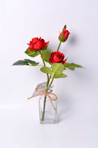 Beautiful Rose Flower Bouquet in Glass with Faux Water pictures & photos