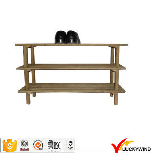 Green Vintage Wear Wooden Standing Cabinet Style Shoe Rack pictures & photos
