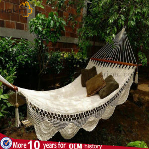 Good Quality Cotton Single Beautiful Lace Hammock Outside Garden pictures & photos