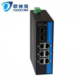 10/100/1000Mbps 2 Fiber+ 6RJ45 Industrial Switch with DIN Rail