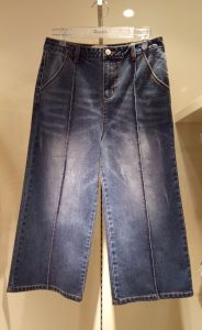 Women′s washing wide leg Jeans with whisker