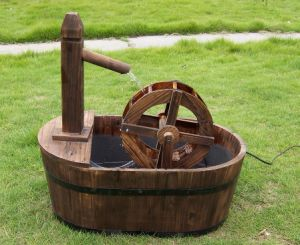 Rustic Water Fountain Well Pump Barrel Fountain Planter pictures & photos