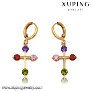 92166 Fashion Colorful Cubic Zirconia Cross Jewelry Eardrop pictures & photos