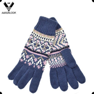 Ladies Fashion Winter Jacquard Knitted Five Finger Glove pictures & photos