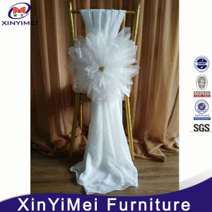 Elegant Fancy White Chiffon Organza Flower Chair Sashes Cheap Wedding Chair Covers pictures & photos