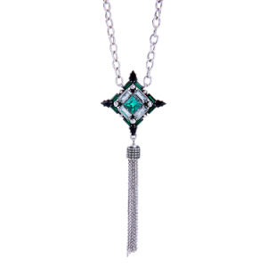 Fashion Retro Inlaid Crystal Geometric Pendant Lond Necklace Alloy Tassel Pendant pictures & photos