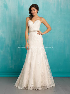 Custom Made A-Line Wedding Dress Tulle on Lace Bridal Gown pictures & photos