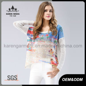 Women Casual Oversize Beach Patterned Sun Sweater pictures & photos