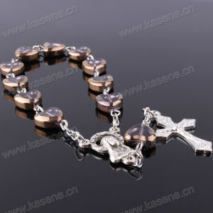 China Factory Good Quality Heart Shape Crystal Rosary Bracelet pictures & photos
