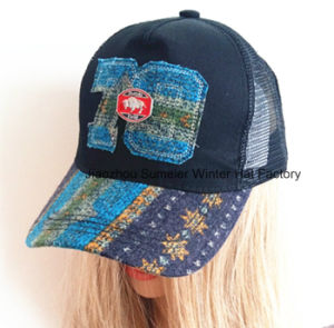 Raw Edge Applique Embroidery Genuine Leather Strap Baseball Cap pictures & photos