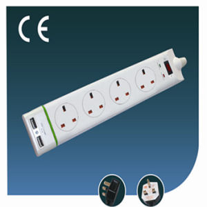 Four Ways British Socket with USB and Green Line