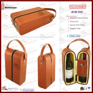 Manufacturer Double Bottle Cardboard Zippered Wine Gift Box (5508R11) pictures & photos