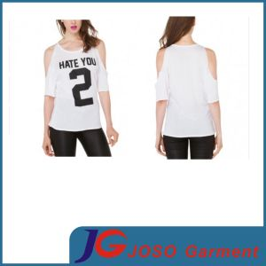 Women Trendy Round Neck off Shoulder T-Shirt (JS9013) pictures & photos