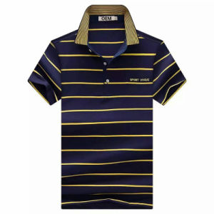 OEM Short Sleeve CVC Yarn Dyed Stripe Polo Shirt pictures & photos