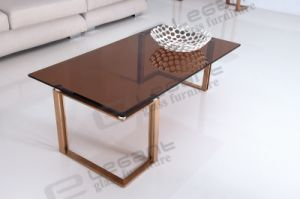 Gold Stainless Steel Coffee Table with Tempered Tea Glass Top pictures & photos