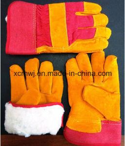 Winter Work Glove, Winter Warm Labor Gloves, Winter Warm Working Glove, Leather Winter Working Glove, Cow Grain Leather Fleecy Lined Winter Warm Working Glove