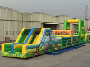Iaapa Hot Sale Outdoor Amusement Games Jungle Animal Theme Inflatable Obstacle Course pictures & photos