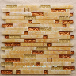 Mixed Color Natural Stone Marble Mosaic Wall Tile for Background pictures & photos