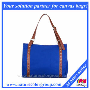 Canvas Tote with Leather Trim and Metal Details pictures & photos