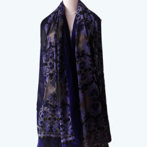 Classic Burnt-out Velvet Blue Scarves Shawls Factory Customized pictures & photos
